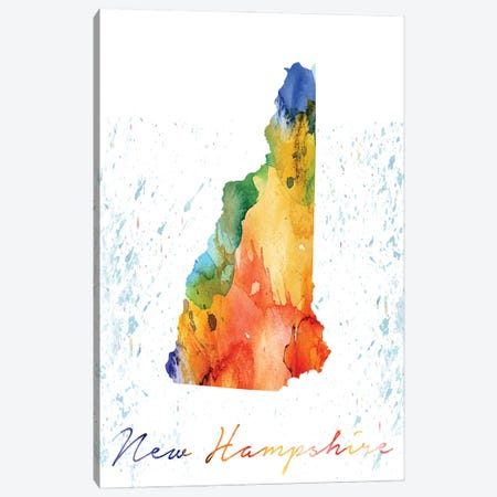 New Hampshire State Colorful 3-Piece Canvas #WDA308} by WallDecorAddict Canvas Art