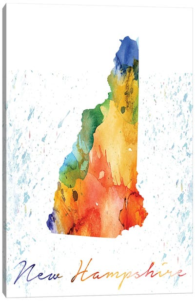 New Hampshire State Colorful Canvas Art Print