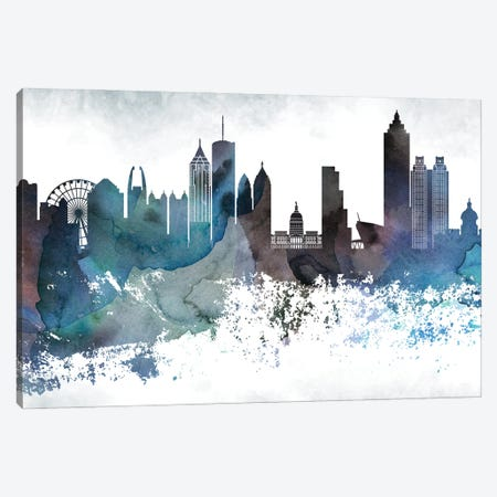 Atlanta Bluish Skylines Canvas Print #WDA30} by WallDecorAddict Canvas Wall Art