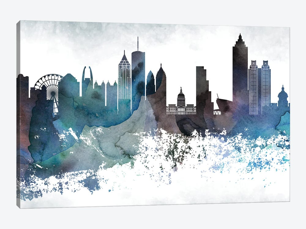 Atlanta Bluish Skylines by WallDecorAddict 1-piece Canvas Art