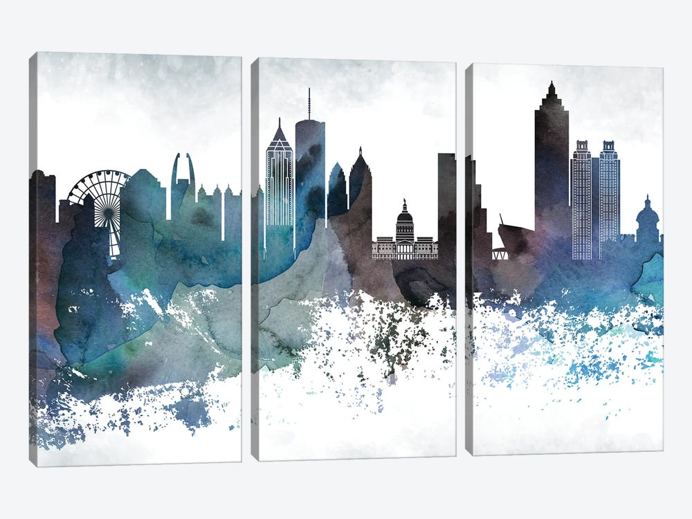 Atlanta Bluish Skylines by WallDecorAddict 3-piece Canvas Wall Art