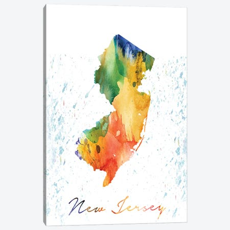New Jersey State Colorful Canvas Print #WDA312} by WallDecorAddict Canvas Print