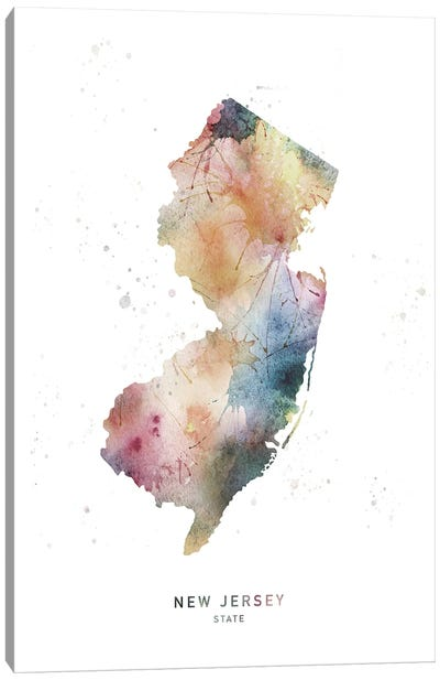 New Jersey State Watercolor Canvas Art Print