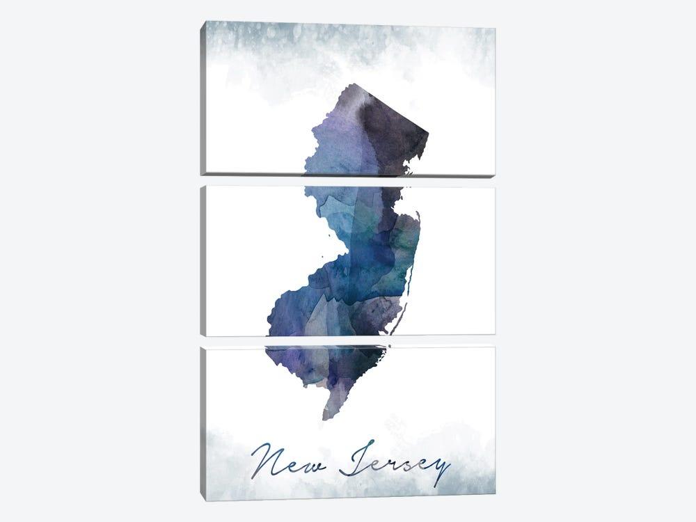 New Jersey Statebluish by WallDecorAddict 3-piece Canvas Artwork