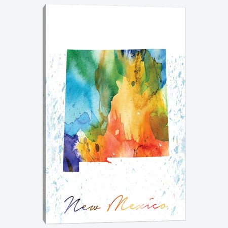 New Mexico State Colorful 3-Piece Canvas #WDA318} by WallDecorAddict Canvas Print