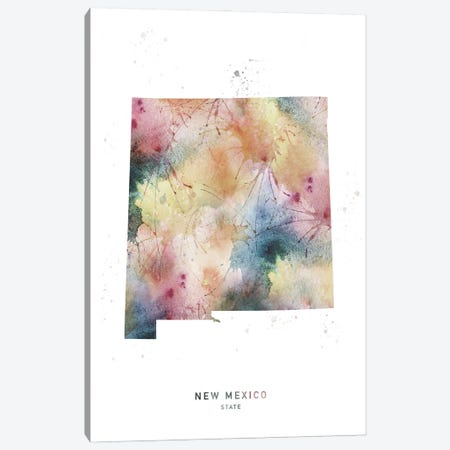 New Mexico State Watercolor Canvas Print #WDA319} by WallDecorAddict Canvas Print