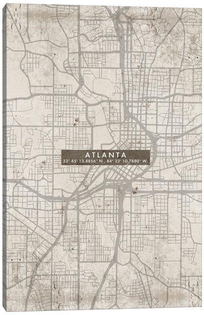 Atlanta City Map Abstract Canvas Art Print