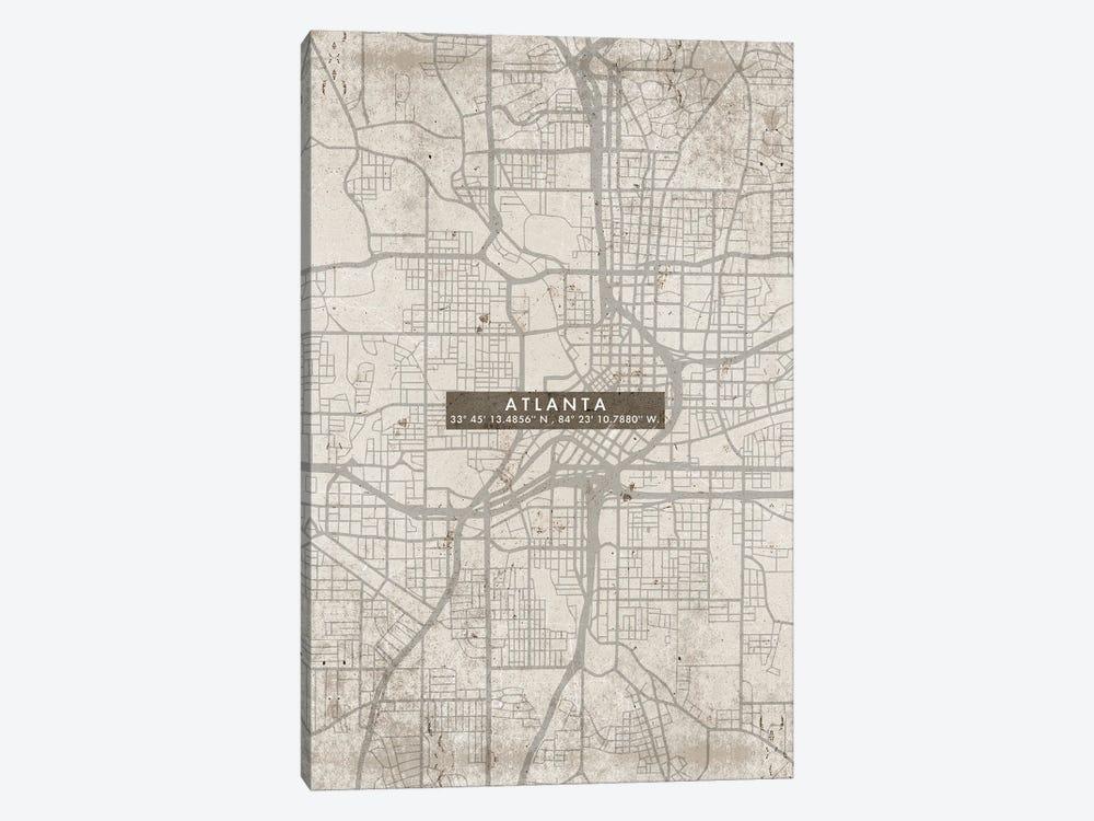 Atlanta City Map Abstract by WallDecorAddict 1-piece Canvas Art Print