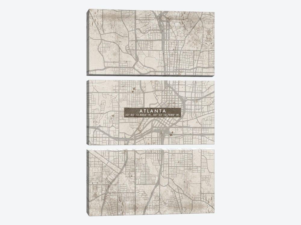 Atlanta City Map Abstract by WallDecorAddict 3-piece Canvas Art Print