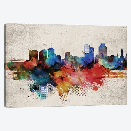 New Orleans Abstract Canvas Print #WDA320} by WallDecorAddict Canvas Artwork