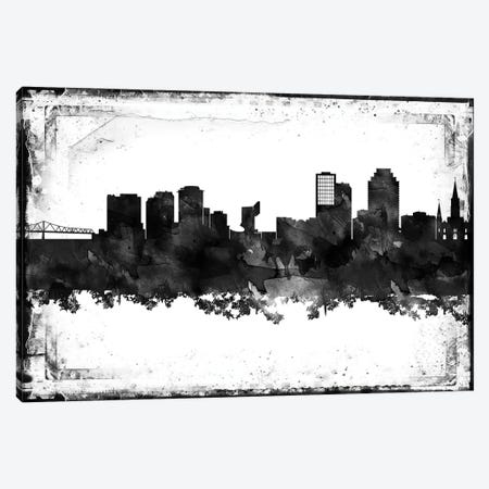 New Orleans Black And White Framed Skylines Canvas Print #WDA321} by WallDecorAddict Canvas Artwork