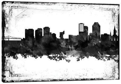 New Orleans Black And White Framed Skylines Canvas Art Print