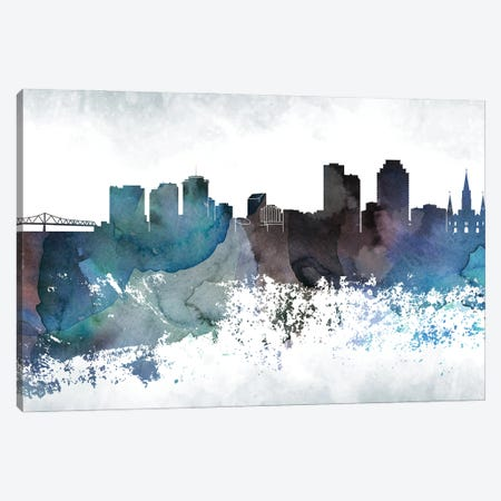 New Orleans Bluish Skylines Canvas Print #WDA322} by WallDecorAddict Canvas Art