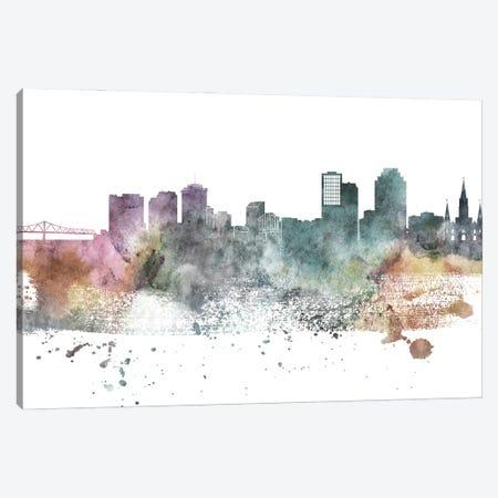 New Orleans Pastel Skylines Canvas Print #WDA323} by WallDecorAddict Canvas Artwork