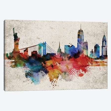 New York Abstract Canvas Print #WDA325} by WallDecorAddict Art Print