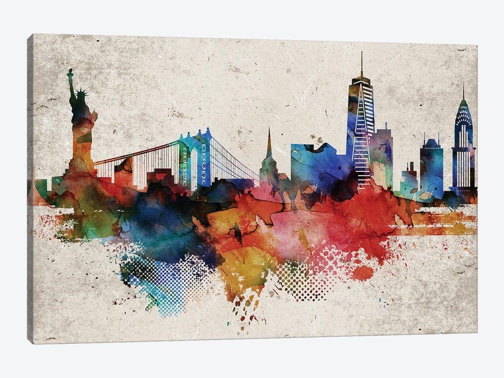 New York Abstract by WallDecorAddict 1-piece Canvas Wall Art