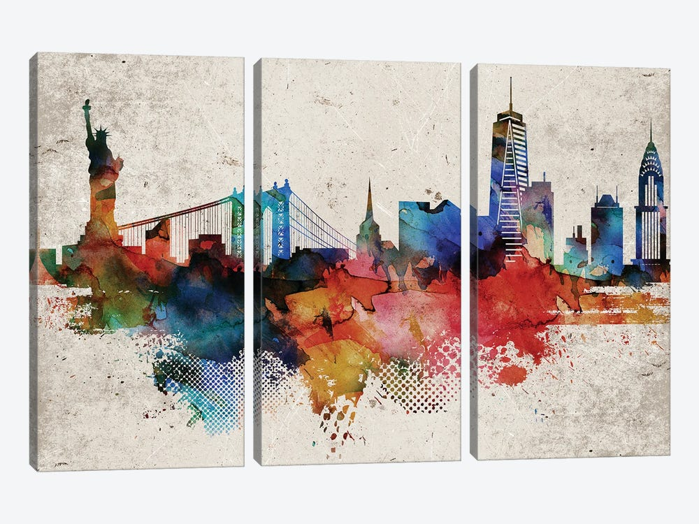 New York Abstract by WallDecorAddict 3-piece Canvas Artwork