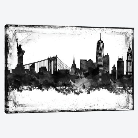 New York Black And White Framed Skylines Canvas Print #WDA326} by WallDecorAddict Canvas Print