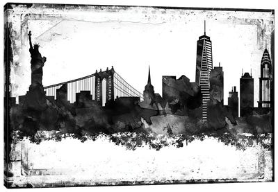 New York Black And White Framed Skylines Canvas Art Print