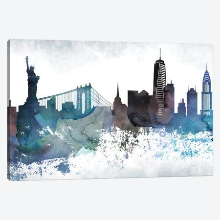 New York Bluish Skylines Canvas Print #WDA328} by WallDecorAddict Canvas Artwork