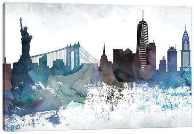 New York Bluish Skylines Canvas Art Print