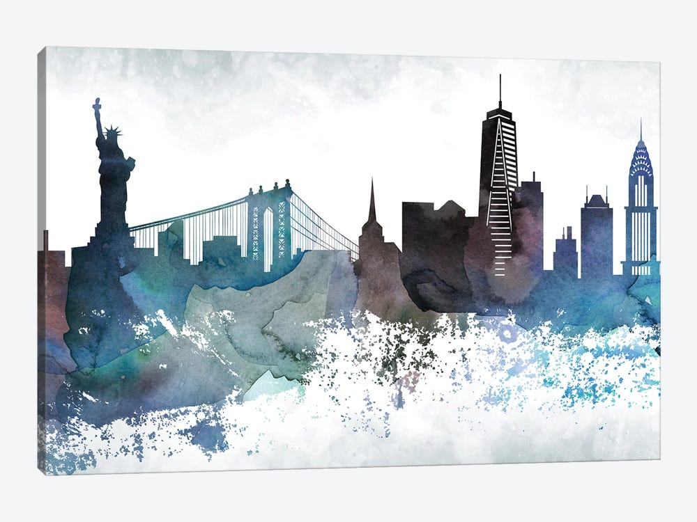 New York Bluish Skylines 1-piece Canvas Print