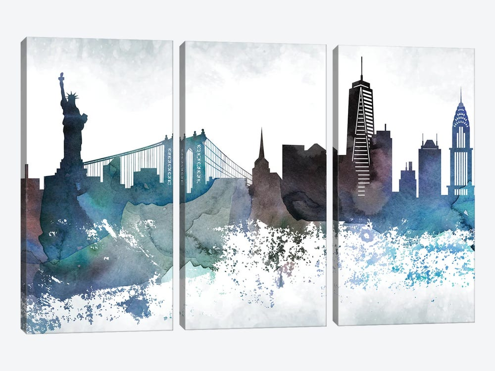 New York Bluish Skylines by WallDecorAddict 3-piece Art Print