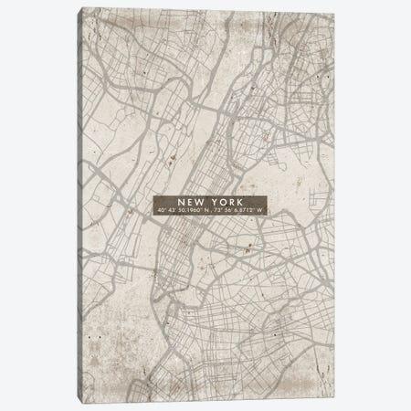 New York City Map Abstract Canvas Print #WDA329} by WallDecorAddict Canvas Art