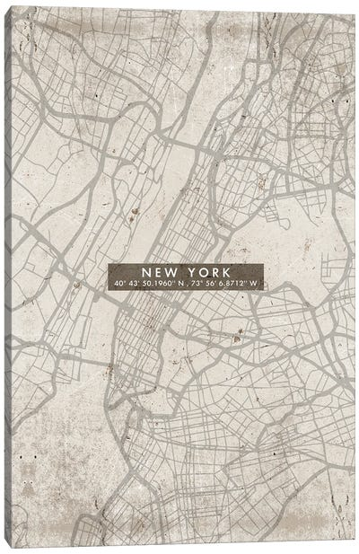 New York City Map Abstract Canvas Art Print