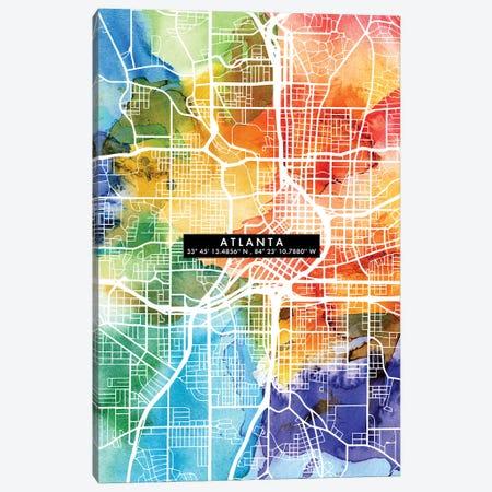 Atlanta City Map Colorful Canvas Print #WDA32} by WallDecorAddict Canvas Art