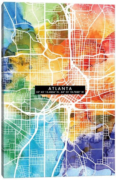 Atlanta City Map Colorful Canvas Art Print