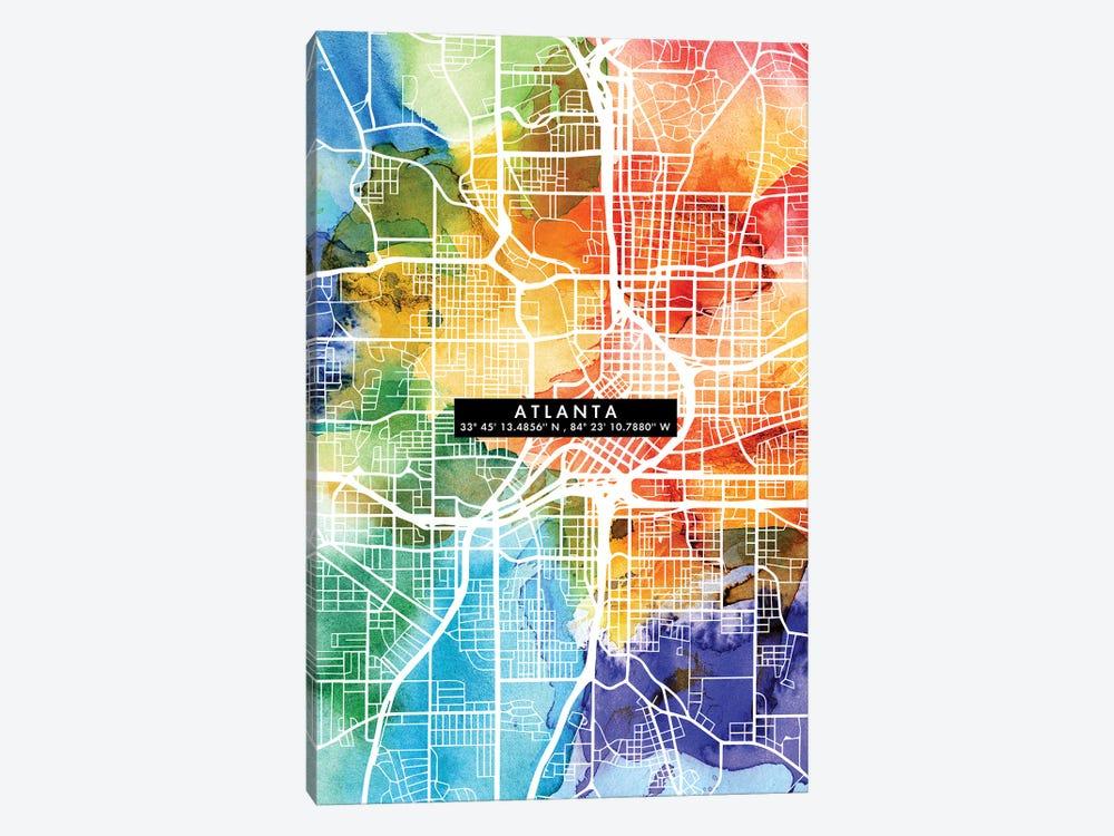 Atlanta City Map Colorful by WallDecorAddict 1-piece Canvas Artwork