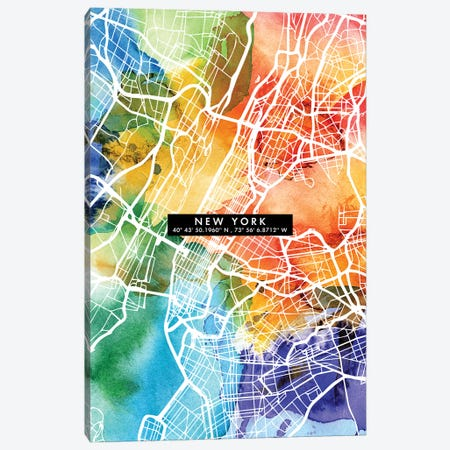 New York City Map Colorful Canvas Print #WDA330} by WallDecorAddict Art Print