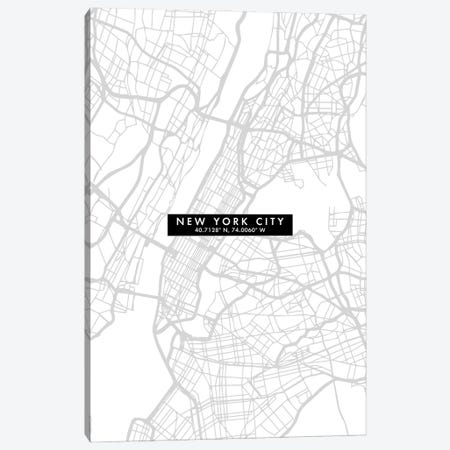 New York City Map Minimal Canvas Print #WDA331} by WallDecorAddict Canvas Art Print