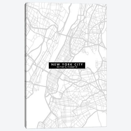 New York City Map Minimal Canvas Print #WDA331} by WallDecorAddict Canvas Art Print