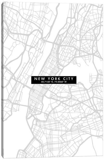 New York City Map Minimal Canvas Art Print
