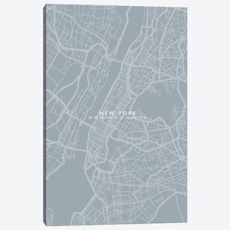 New York City Map Simple Color Canvas Print #WDA332} by WallDecorAddict Art Print
