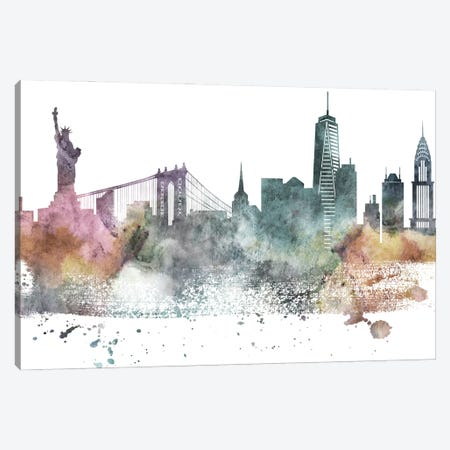 New York Pastel Skylines Canvas Print #WDA333} by WallDecorAddict Canvas Print