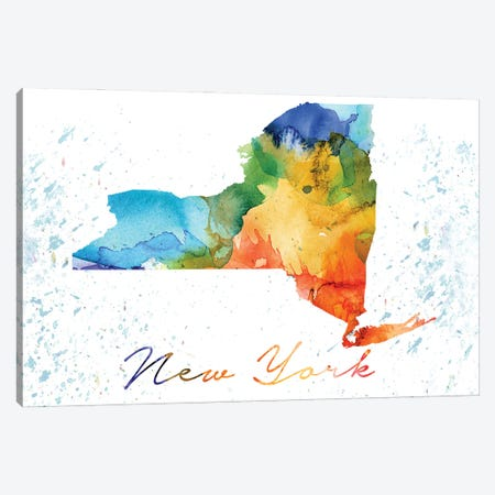 New York State Colorful Canvas Print #WDA335} by WallDecorAddict Canvas Wall Art