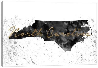 North Carolina Black And White Gold Canvas Art Print