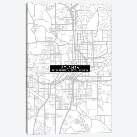 Atlanta City Map Minimal 3-Piece Canvas #WDA33} by WallDecorAddict Canvas Wall Art
