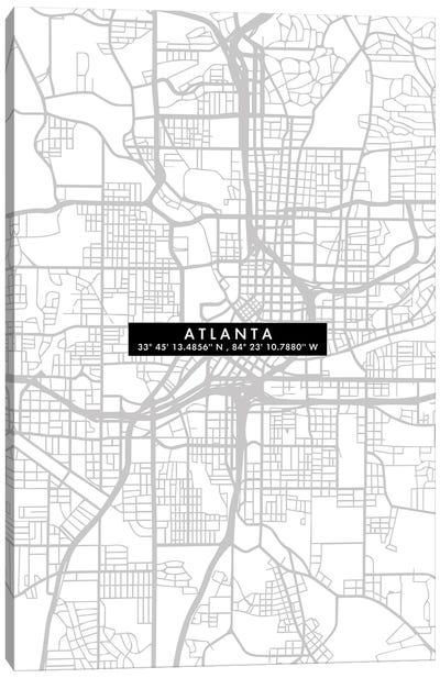 Atlanta City Map Minimal Canvas Art Print