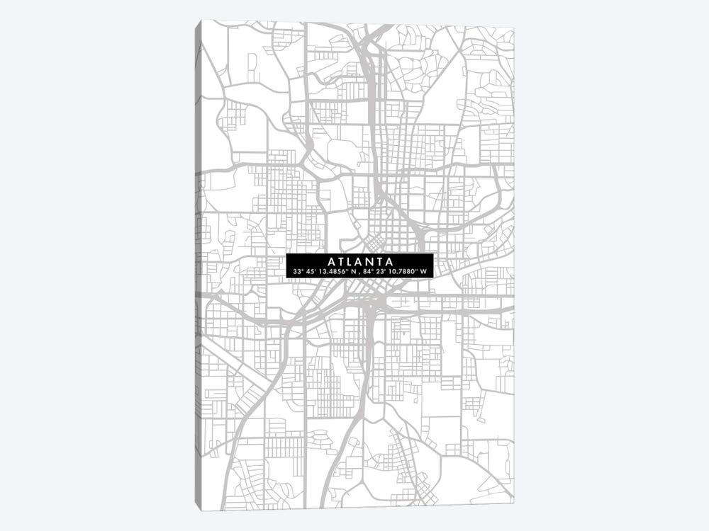 Atlanta City Map Minimal by WallDecorAddict 1-piece Canvas Art Print