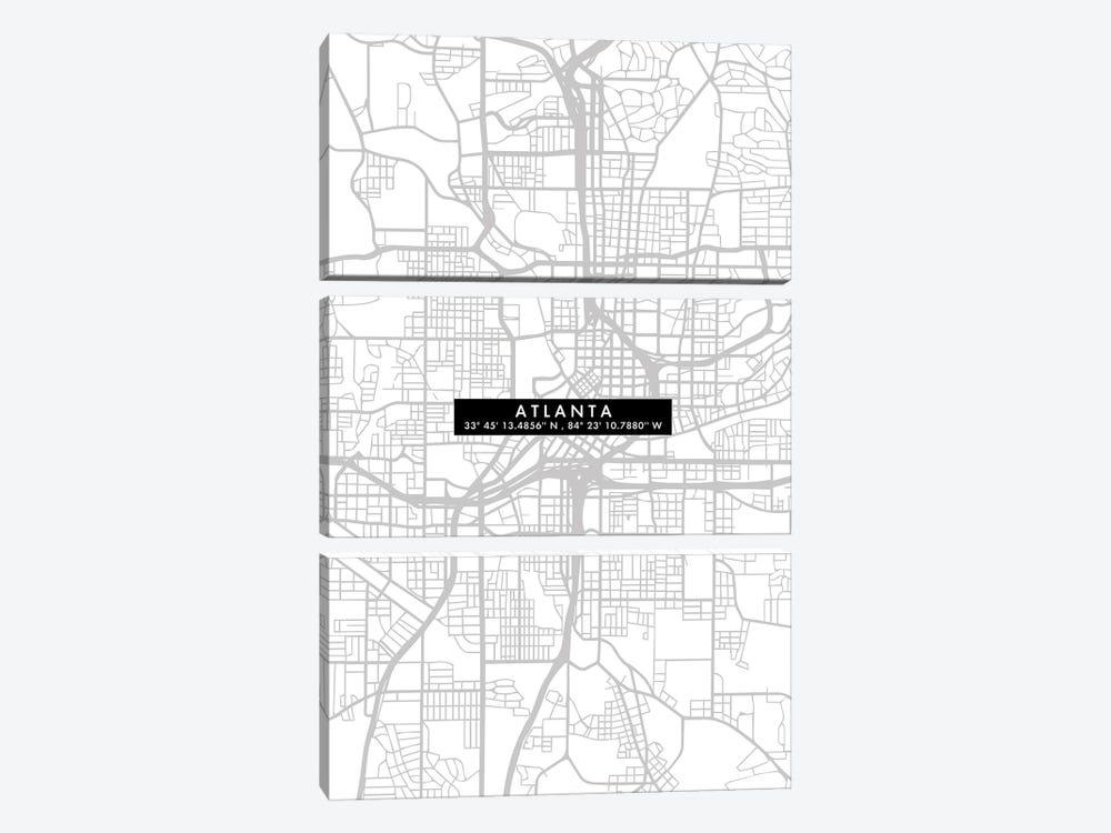Atlanta City Map Minimal by WallDecorAddict 3-piece Canvas Print