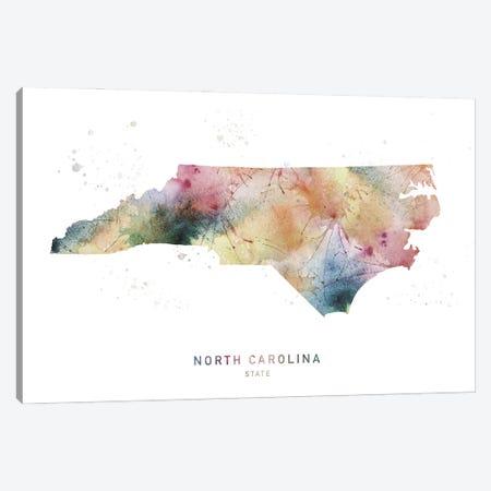 North Carolina Watercolor State Map Canvas Print #WDA342} by WallDecorAddict Canvas Artwork