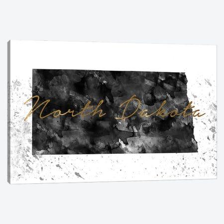 North Dakota Black And White Gold Canvas Print #WDA344} by WallDecorAddict Canvas Art Print