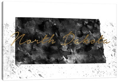 North Dakota Black And White Gold Canvas Art Print