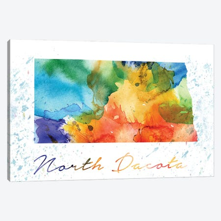 North Dakota State Colorful Canvas Print #WDA347} by WallDecorAddict Art Print