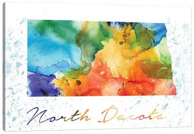 North Dakota State Colorful Canvas Art Print