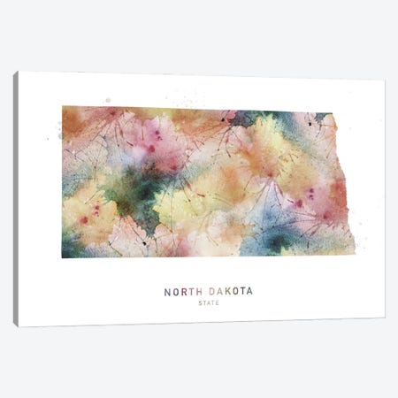 North Dakota Watercolor State Map Canvas Print #WDA348} by WallDecorAddict Canvas Artwork